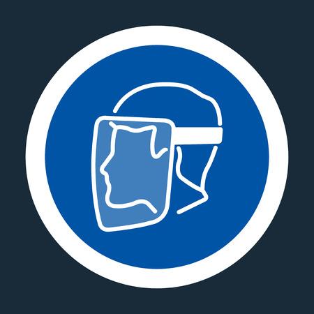 El símbolo del escudo facial debe llevarse signo sobre fondo negro