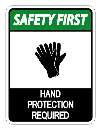 Safety first Hand Protection Required Sign on white background Standard-Bild - 121125665