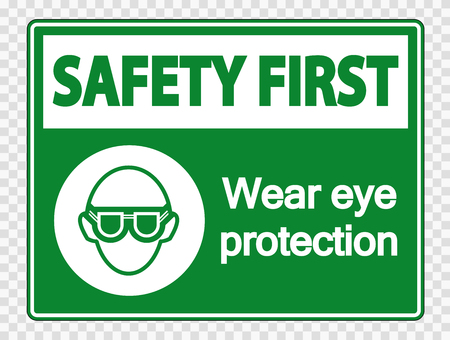 Safety first Wear eye protection on transparent background Imagens - 121127206
