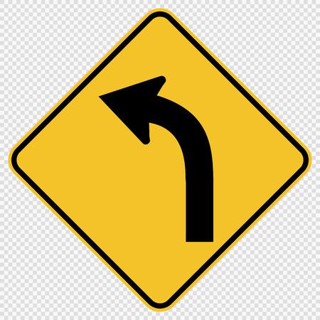 Curved Left Traffic Road Sign on transparent background Vetores