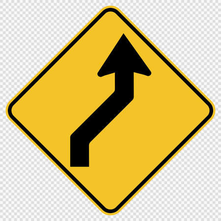 Curved Right Traffic Road Sign on transparent background