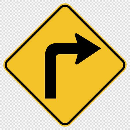 Girare a destra il segnale stradale del traffico su sfondo trasparente Vettoriali
