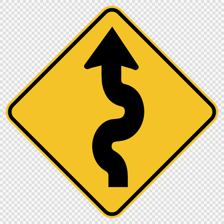 Winding Traffic Road Sign on transparent background
