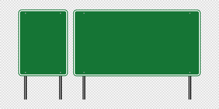 Green traffic sign,Road board signs isolated on transparent background.