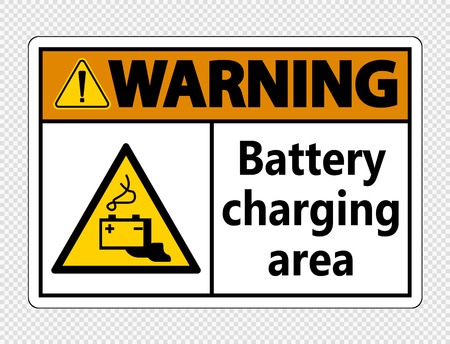 Warning battery charging area Sign on transparent background