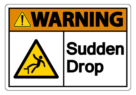 Warning Sudden Drop Symbol Sign On White Background,Vector Illustration