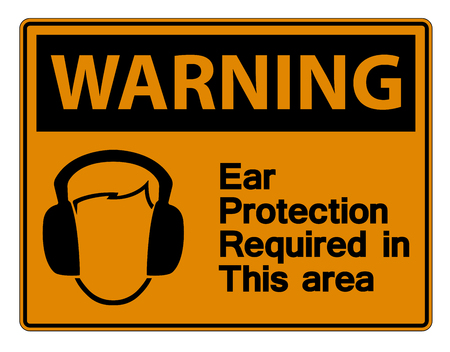 Warning Ear Protection Required In This Area Symbol Sign on white background,Vector Illustration