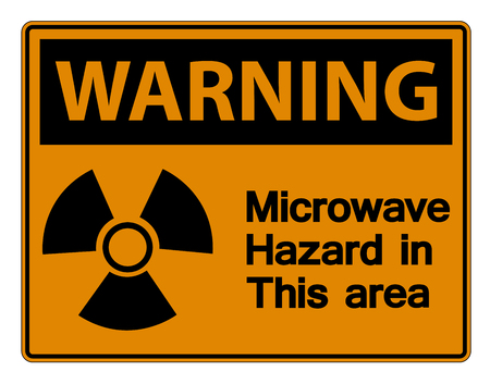 Wirning Microwave Hazard Sign on white background
