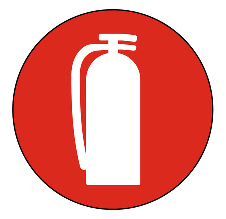 Fire Extinguisher Symbol Floor Sign on white background 向量圖像