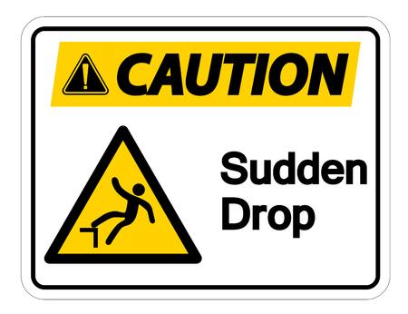 Caution Sudden Drop Symbol Sign On White Background,Vector Illustration