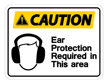Caution Ear Protection Required In This Area Symbol Sign on white background,Vector Illustration