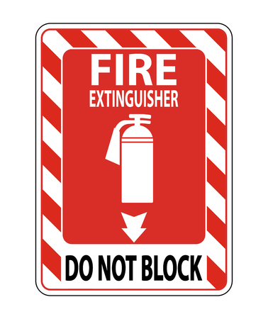 Fire Extinguisher Do Not Block sign on white background Archivio Fotografico - 120330324