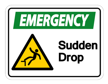 Emergency Sudden Drop Symbol Sign On White Background,Vector illustration Çizim