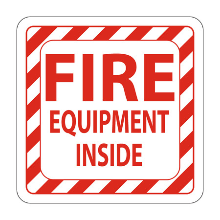 Fire Equipment Inside Label sign on white background,Vector illustration