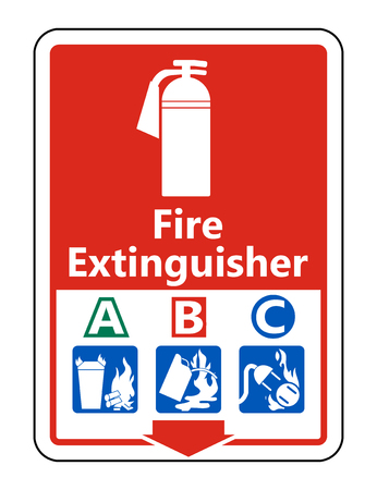 Symbol Fire Extinguisher A B C Sign on white background,Vector illustration