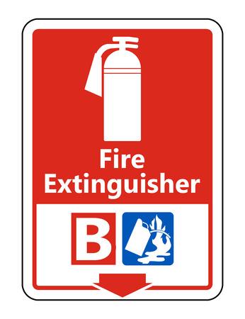 Symbol Fire Extinguisher B Sign on white background,Vector illustration Çizim