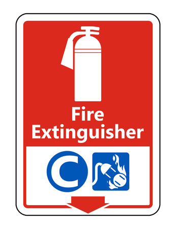 Symbol Fire Extinguisher C Sign on white background,Vector illustration Çizim
