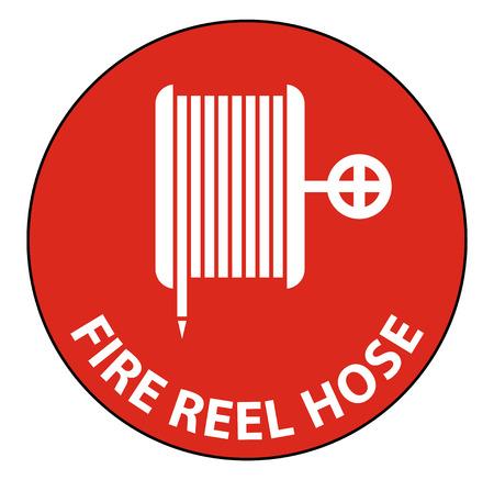 Fire Reel Hose Floor Sign on white background,Vector illustration