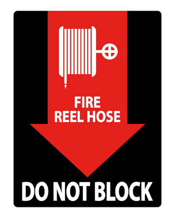 Fire Reel Hose Do Not Block Sign on white background,Vector illustration
