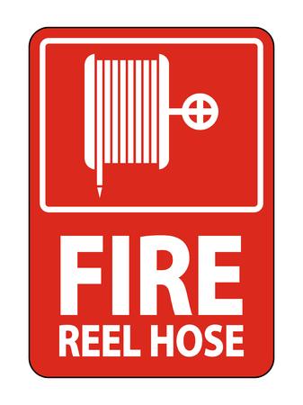Fire Reel Hose Sign on white background,Vector illustration Çizim
