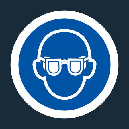 Symbol Wear Safety Glasses Sign on black background,Vector illustration
