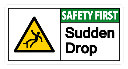 Safety first Sudden Drop Symbol Sign On White Background,Vector illustration Çizim