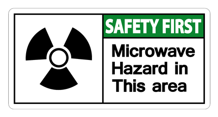 Safety first Microwave Hazard Sign on white background,Vector illustration