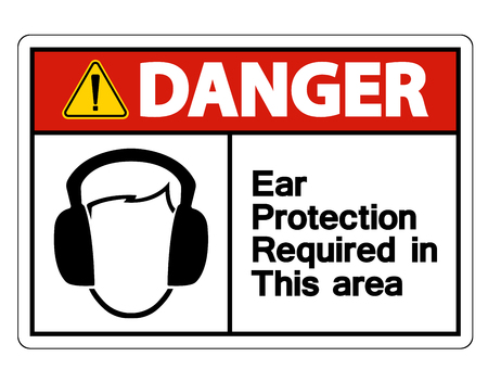 Danger Ear Protection Required In This Area Symbol Sign on white background,Vector illustration