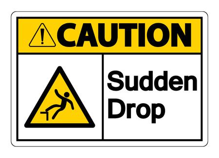 Caution Sudden Drop Symbol Sign On White Background,Vector illustration Stok Fotoğraf - 123858940