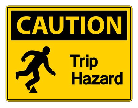 Caution Trip Hazard Symbol Sign on white background,Vector illustration Stok Fotoğraf - 123858949