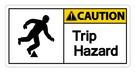 Caution Trip Hazard Symbol Sign on white background,Vector illustration