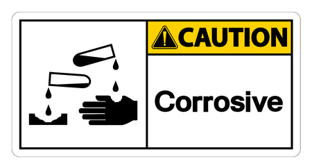 Caution Corrosive Symbol Sign on white background,Vector illustration