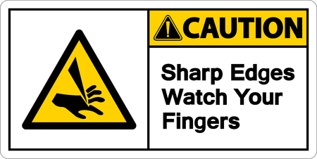 Caution Sharp Edges Watch Your Fingers Symbol Sign on white background,Vector illustration 向量圖像