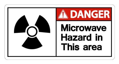 Danger Microwave Hazard Sign on white background,Vector llustration