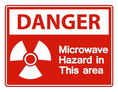 Danger Microwave Hazard Sign on white background,Vector llustration Vecteurs