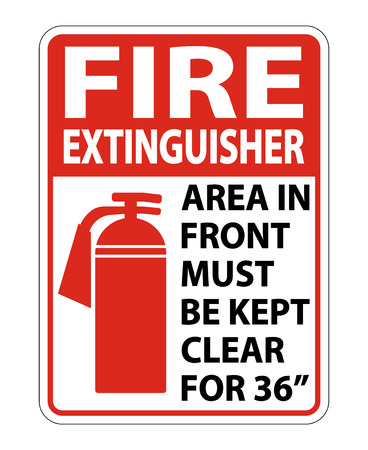 Fire Extinguisher Keep Clear Sign on white background,Vector llustration Stockfoto - 123344858