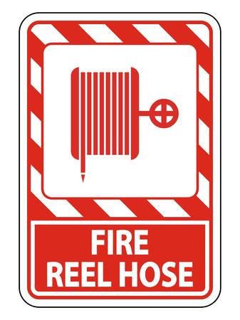 Signe de tuyau d'enrouleur d'incendie sur fond blanc, illustration vectorielle