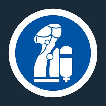 Porter le symbole SCBA (appareil respiratoire autonome) sur fond noir, illustration vectorielle