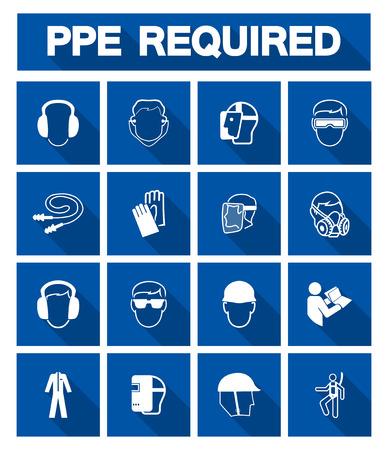 Symbole d'équipement de protection individuelle (EPI) requis, icône de sécurité, illustration vectorielle