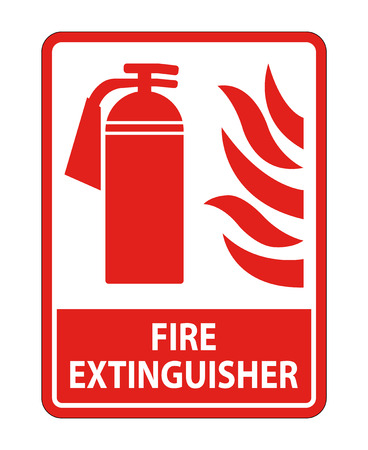 Fire Extinguisher Sign on white background,Vector illustration Standard-Bild - 122865215