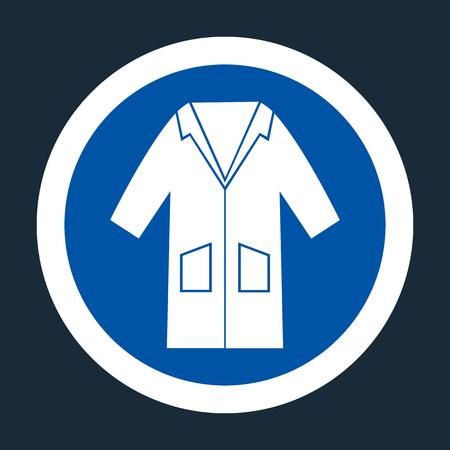 PSA Icon.Wear Smock Symbol Zeichen auf schwarzem Hintergrund