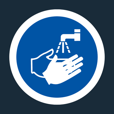 PPE Icon.Wash Your Hand Symbol On black Background On black Background,Vector llustration 写真素材 - 122628748