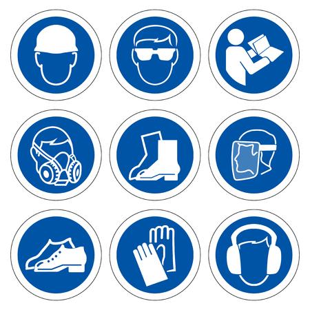 Simbolo dei dispositivi di protezione individuale (DPI) richiesti, icona di sicurezza, illustrazione vettoriale