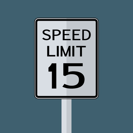 USA Road Traffic Transportation Sign: Speed Limit 15 on grey sky background