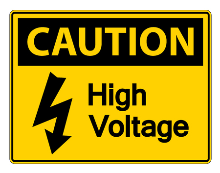 Caution high voltage sign Isolate On White Background,Vector Illustration