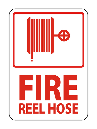 Fire Reel Hose Sign Isolate On White Background Çizim