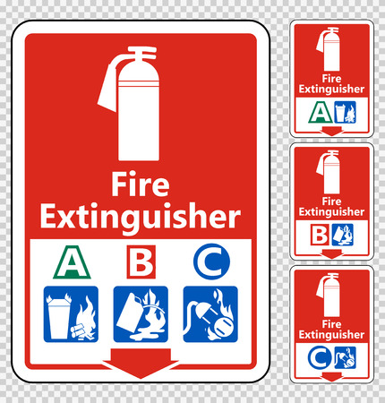Symbol Fire Extinguisher A B C Sign Isolate On transparent Background