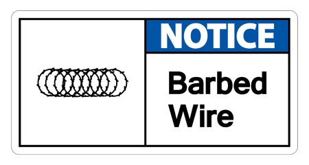 Notice Barbed Wire Symbol Sign On White Background