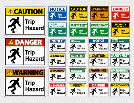 Set Trip Hazard Symbol Sign on transparent background