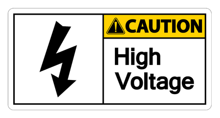 Caution high voltage sign Isolate Isolate On White Background Ilustração